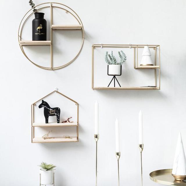 Innovative Geometric Shape Living Room Storage Rack Wall Shelf Wall-mounted Decoration Pendant Restaurant Porch Room Decor 2