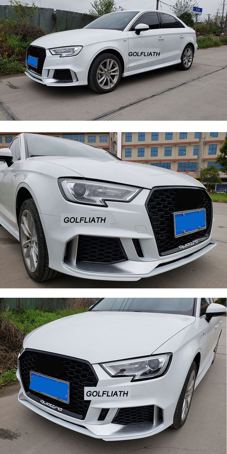Newest RS3 style PP+ABS front bumper kits body kit Assembly center grille For Audi A3 2017-2018 sedan