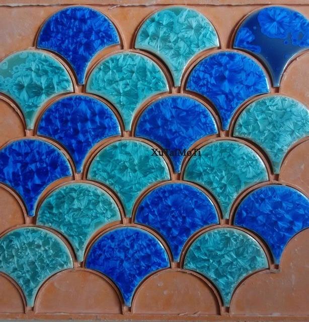 Azul verde pescado cerámica mosaico azulejo cocina backsplash cuarto ...