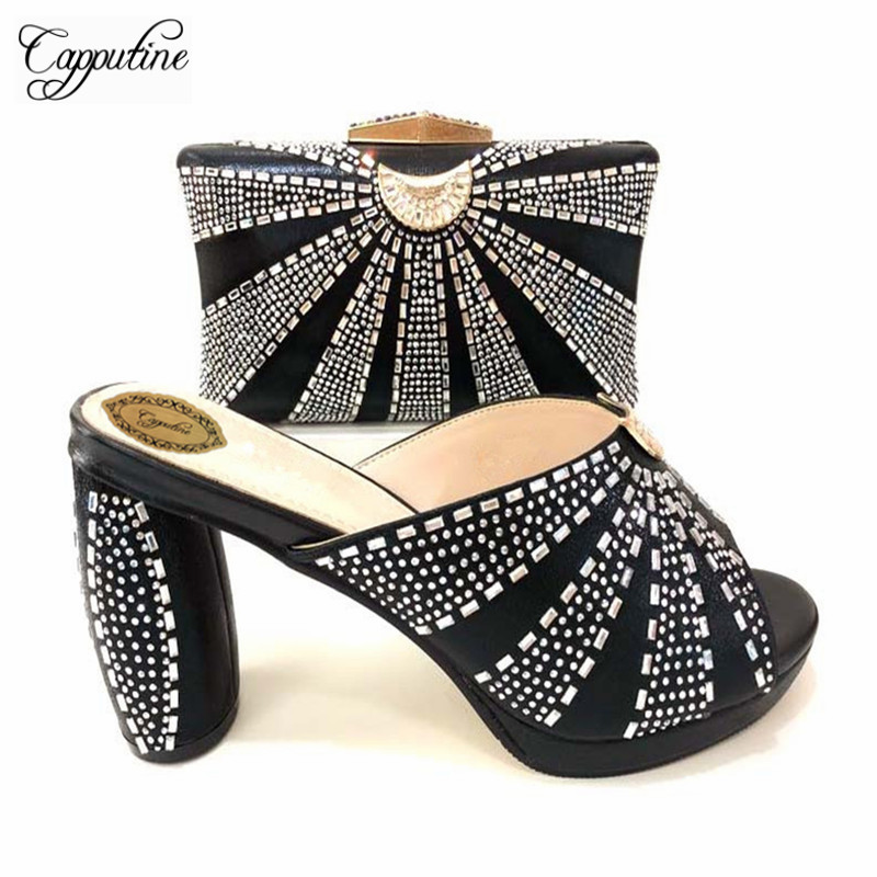 Capputine Hot African Party Slipper Shoes With Matching Bag For Women Italian Rhinestone Ladies Shoes And Bag Set Big Size 37-43 hot artist shoes and bag set african sets italian shoes with matching bags high quality women shoes and bag to match set mm1055
