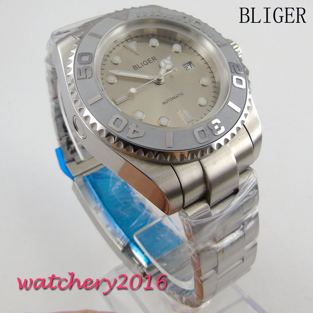 44mm Bliger Gray Dial Luminous Crystal Deployment buckle Date Window Automatic self-wind Movement Men's Mechanical Wristwatches 44mm bliger gray dial ceramic bezel luminous hands crystal date window automatic movement men s mechanical wristwatches