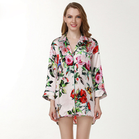 Sexy Rose 100% genuine Silk shorts sets women long sleeves + shorts spring elegant sleepwear night gown women pyjamas