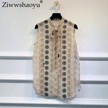 Ziwwshaoyu Fashion Embroidery shirt Bow Contrast color 100% Silk tank Top New women's