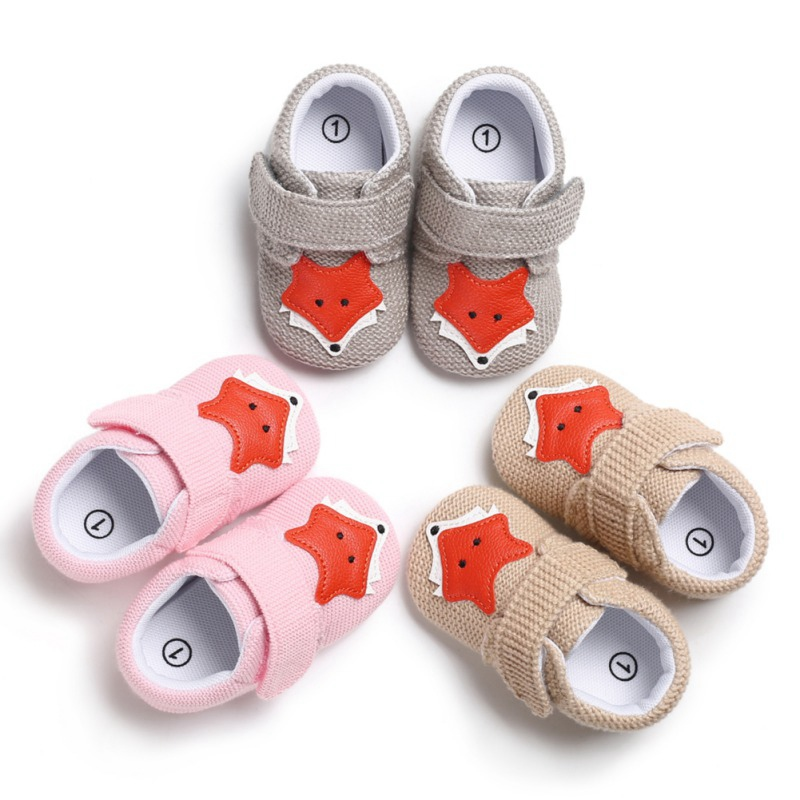 Adorable Soft Soled Baby Shoes Infant First Walkers Toddler Baby Boy Girl Knit Crib Shoes Cute Cartoon Anti-slip Prewalker