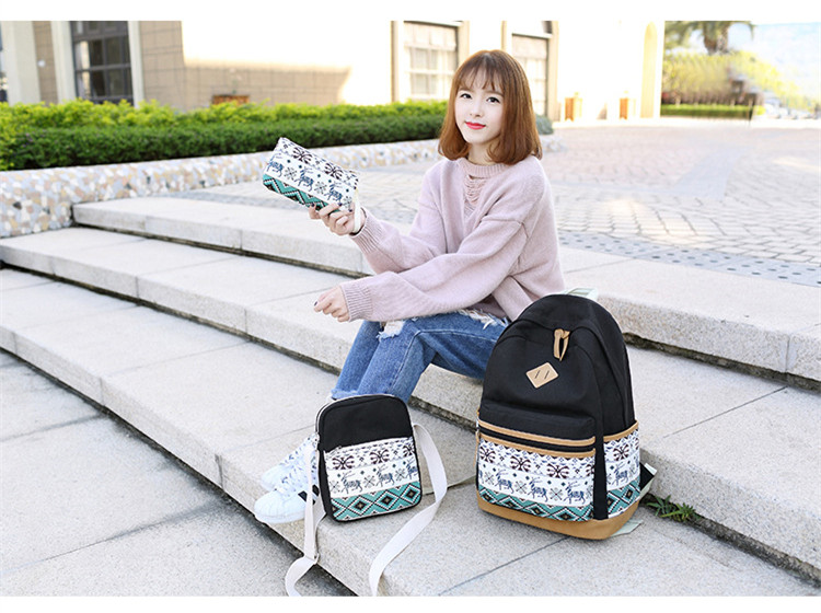 FengDong 3pcs/set Vintage Canvas School Bags For Girls Pen Pencil Bag Set Bookbag Deer Animal Print Girl School Backpack Set