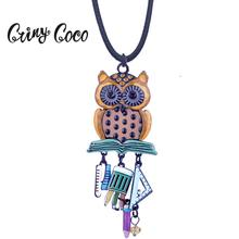 Cring Coco 2019 Personalized Vintage Owl Pendants Necklaces for Women Enamel Necklace Chain Pendant Ornaments Womens Jewelry
