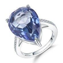 GEMS בלט 10.68Ct הטבעי Iolite כחול מיסטיק קוורץ טבעות 925 כסף סטרלינג חן קוקטייל טבעת לתכשיטי נשים