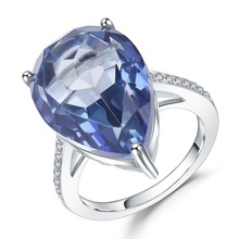 GEMS BALLET 10.68Ct Natural Iolite Blue Mystic Quartz Rings 925 Sterling Silver Gemstone Cocktail Ring For Women Fine Jewelry