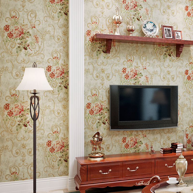 American Retro Pastoral Floral Bronzing Non-woven Wallpaper Wall Covering For Living Room Bedroom Study Background Decor Flower flag wallpaper non woven american vintage flower wallpaper living room background wall 0 53mx10m papeles pintados