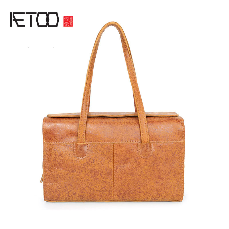 AETOO Retro handbags leather first layer cowhide ladies shoulder bag trend personality flash point male ladies leather bagAETOO Retro handbags leather first layer cowhide ladies shoulder bag trend personality flash point male ladies leather bag