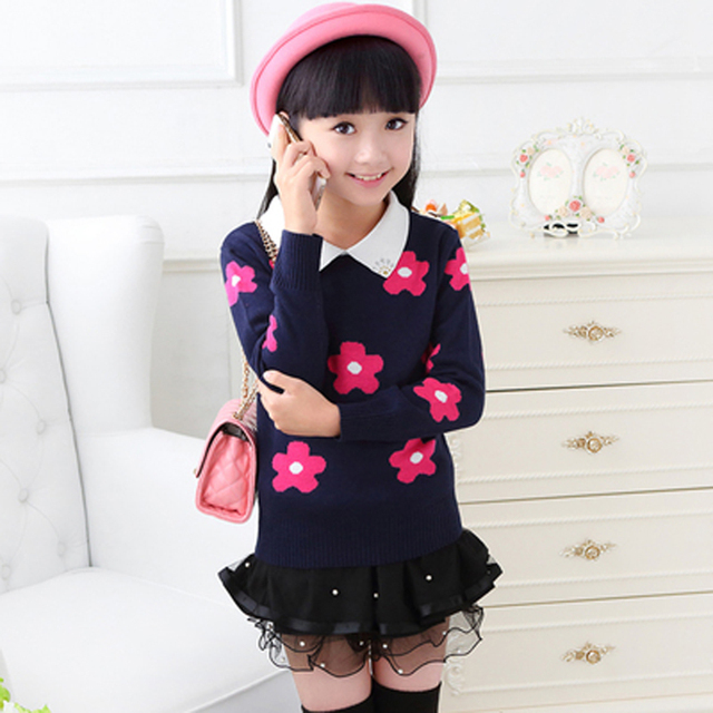 Girls Autumn Sweater 2015 Thick  Pullover Cashmere Tops O-neck Children Cardigans Knitted Sweater Free Shipping
