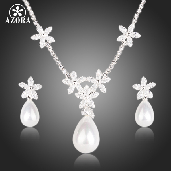 AZORA Flower Design Clear CZ With Water Drop Pearl Earrings and Pendant Necklace Jewelry Sets TG0134