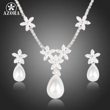 Azora flower design clear cz con gota de agua pendientes de perlas y colgante de collar de sistemas de la joyería tg0134