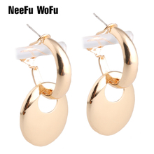 NeeFu WoFu Drop Big Earrings Oval Dangle Glowing Zinc alloy Large Long Brinco Printing Ear needle Leopard Christmas Gift