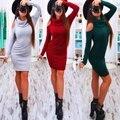 Осень Лук С Длинным Рукавом Без Бретелек Midi Сексуальная Bodycon Шерсть Платье Красный Зеленый Женщины Эластичный Элегантный Партия Платья