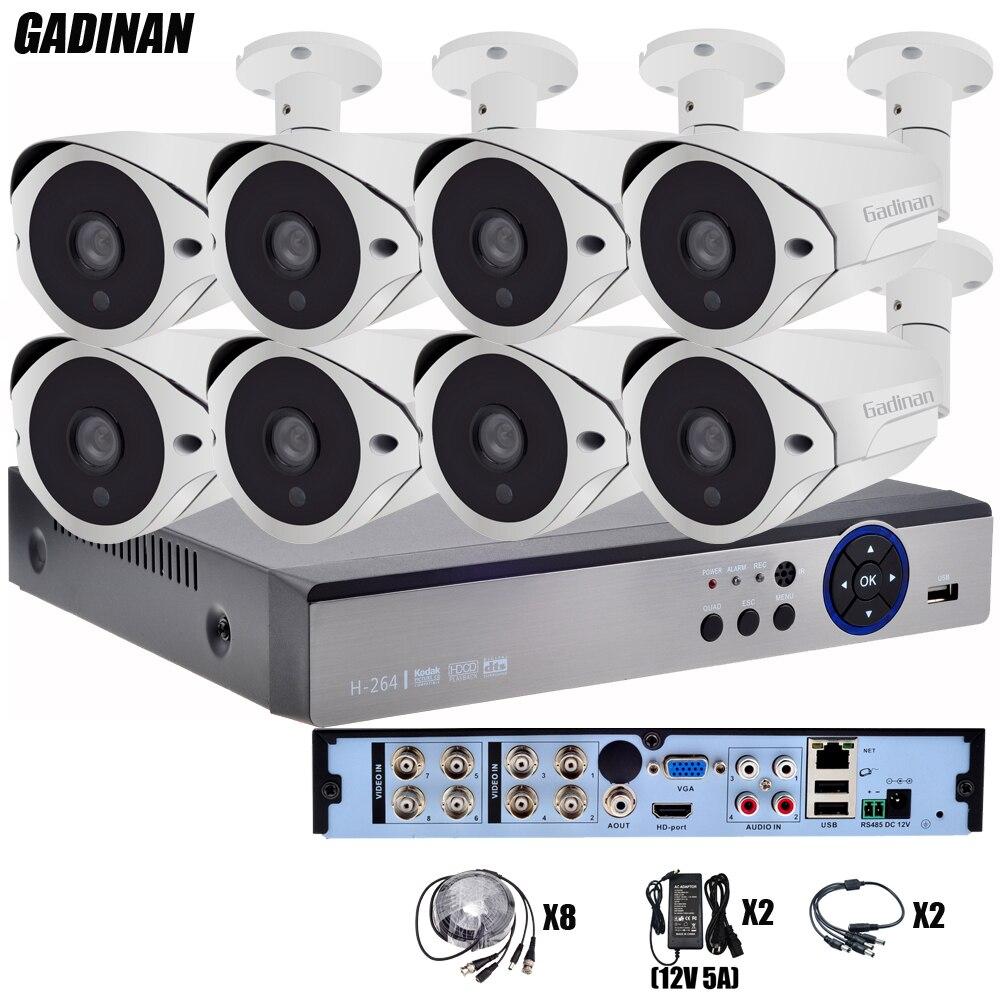 GADINAN 8CH AHD CCTV System 4K HDMI AHD 8CH DVR 8PCS 3MP/4MP IR Outdoor Security Camera Surveillance System Kit AHD Camera Set