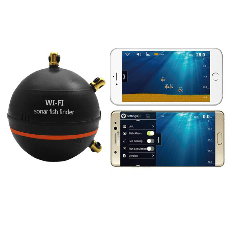 Wifi sonar fish finder with wifi connection distance for Wifi fish finder