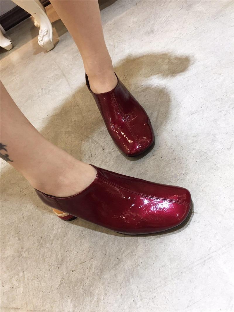 9125240d4 Dedo-del-pie-cuadrado-conciso-Zapatos-guante-brillante-charol-Claret-colorido-redondo-tal-n-Delgado-Mujer.jpg