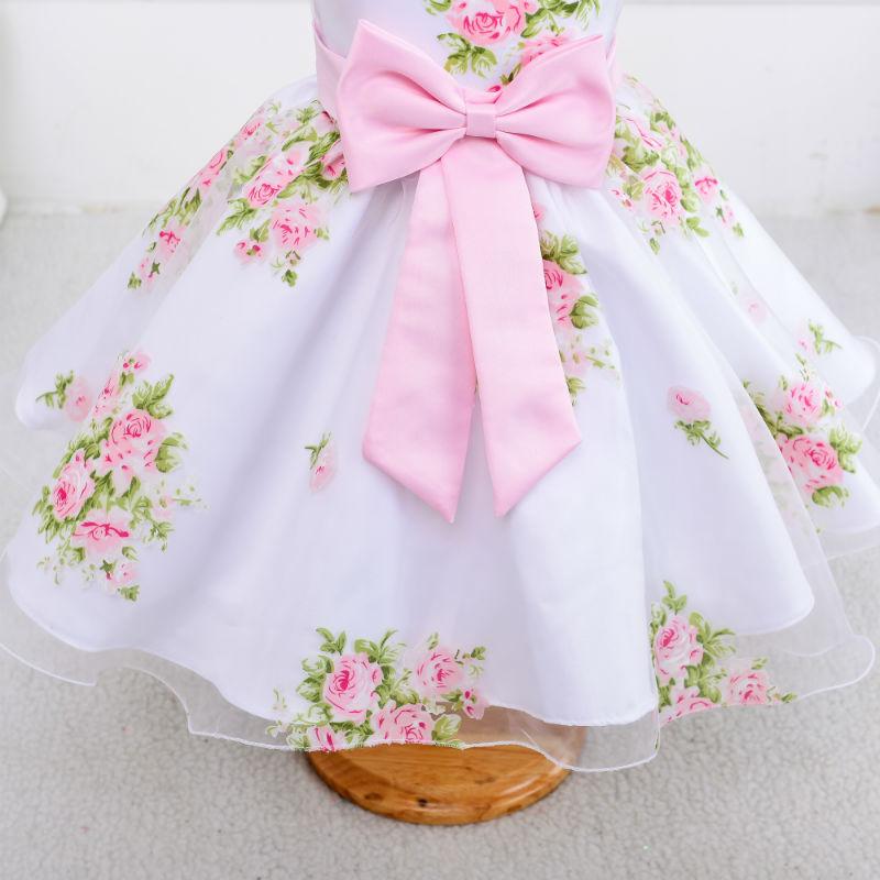 be117d33d Nuevo estilo verano bebé niña estampado flor chica vestido para boda niñas vestido  de fiesta con arco vestido para 2 3 4 5 6 7 8 años niñas en Vestidos de ...