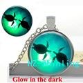Glowing Jewelry Sea Turtle Necklace Sea Turtle Pendant Glass Animal Jewelry Glow in The Dark Necklace