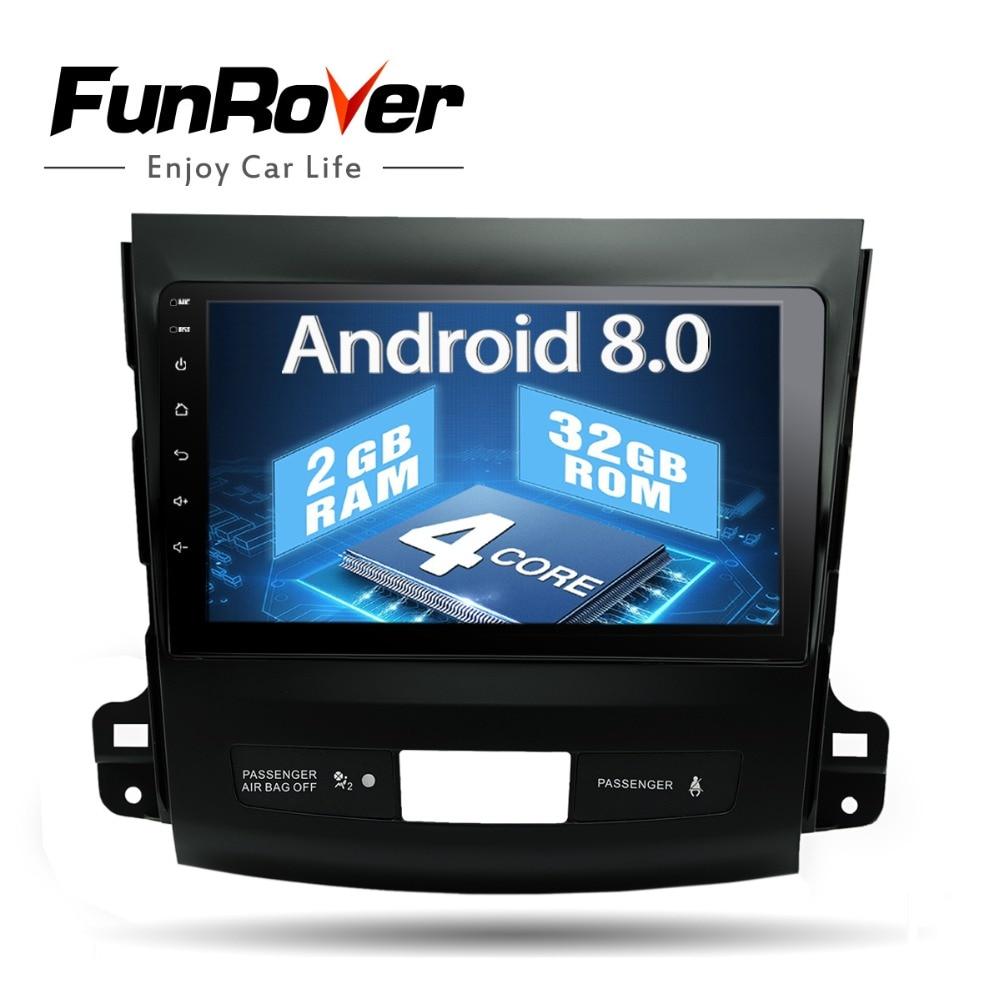 Funrover 2g Android 8.0 DVD Dell'automobile per Mitsubishi Outlander 2006-2014/Peugeot 4007/Citroen C- crosser Radio di Navigazione per auto wifi USB