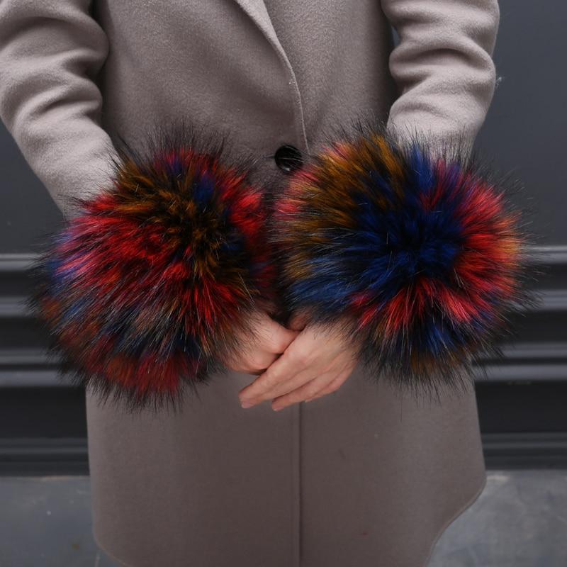 MIARA.L 2018 High Quality Sleeve Cuff Bracelet  Faux Fur Hand Ring Sleeve Fox Fur Winter Female Free Shipping