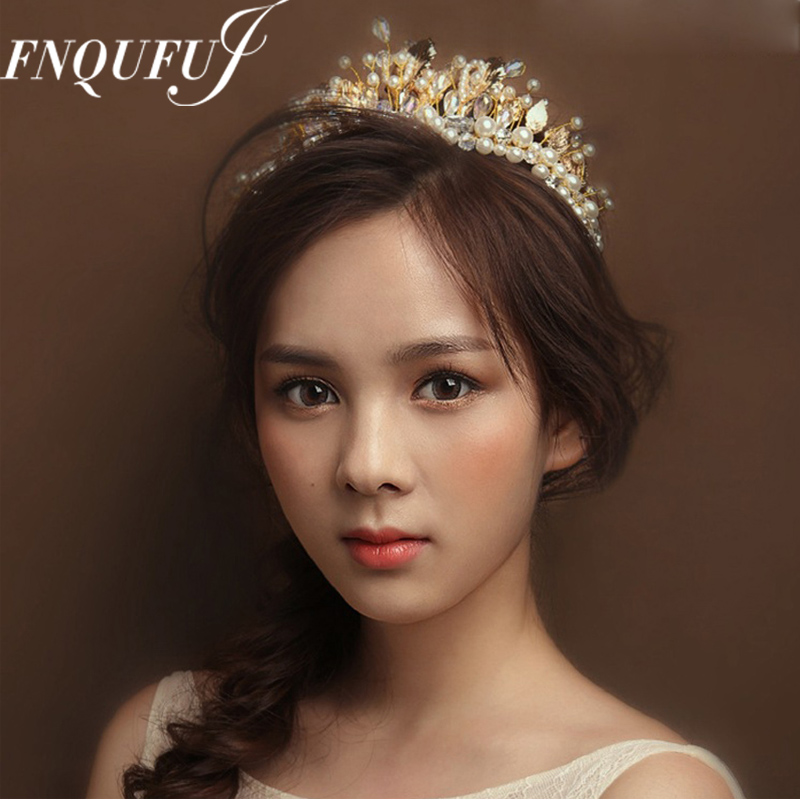 Baroque Crown Ornament Jewelry Tiaras Hair-Accessories Bridal-Head Crystal Wedding And