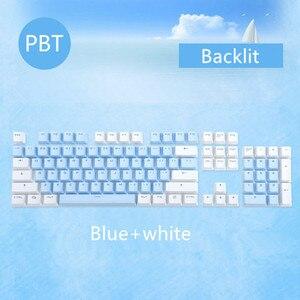 Image 2 - 104 клавиши/комплект, колпачки для ключей PBT, механическая клавиатура с двойным снятием, колпачки для ключей с подсветкой, розовые, синие, белые, для Ajazz AK35I и других MX переключателей