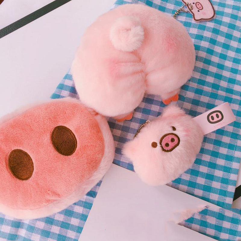 1 Pc Cute Pig Nose Plush Purse Cartoon Animal Pig Plush Brooch Coin Bag For Girls Plush Doll Plush Toys