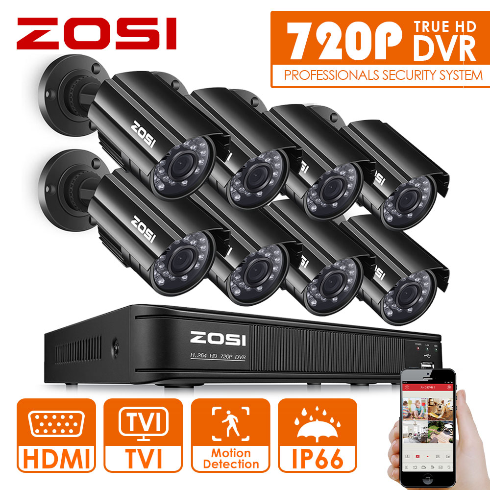ZOSI HD 8CH CCTV System HDMI 1080N DVR 8PCS 1280TVL IR Outdoor Video Surveillance Security Camera System 8 channel DVR Kit sannce hd 4ch cctv system 1080p hdmi dvr 2pcs 720p 1280tvl cctv ir outdoor video surveillance security cameras 4ch dvr kit
