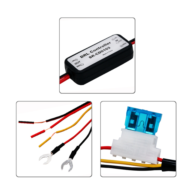 1PCS SUNKIA Car LED Daytime Running Light Relay Harness Dimmer On/Off 12-18V 5A Auto DRL Controller Fog Light Controller 2