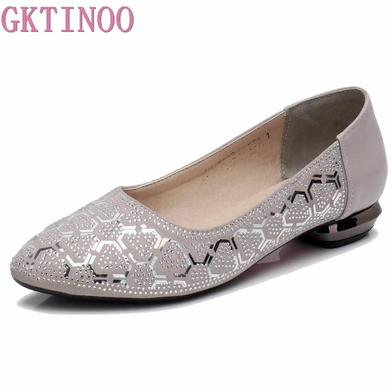 GKTINOO Genuine Leather Spring Summer Loafers Women Casual Shoes Moccasins Soft Ladies Footwear Women Flats Shoes Female