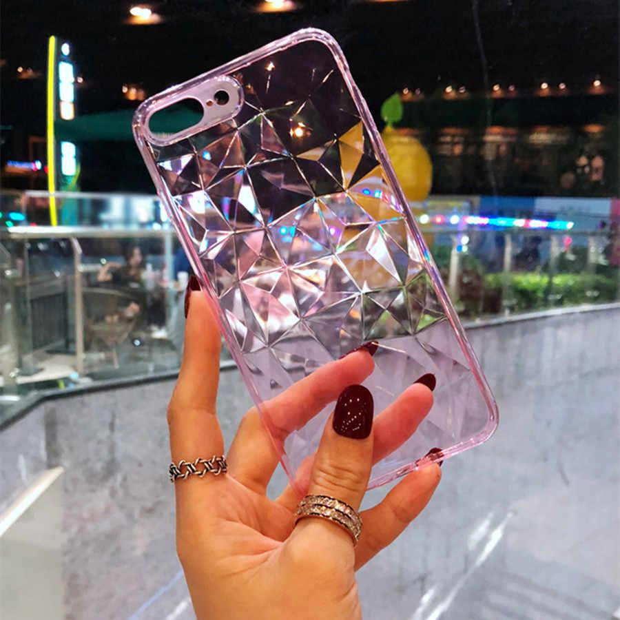 Funda de textura de diamante de moda para iPhone 8 7 funda de teléfono suave para iPhone 6 6 s 7 8 Plus de lujo funda transparente Ultra delgada Coque