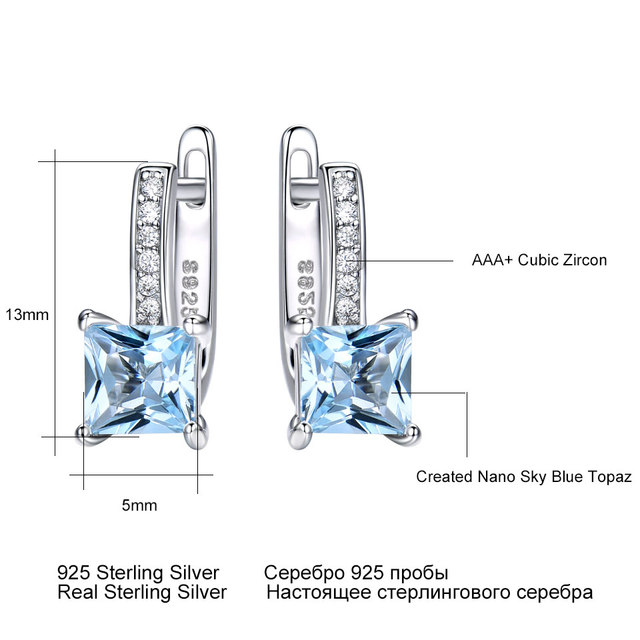 UMCHO Sky Blue Topaz Gemstone Clip Earrings for Women Solid 925 Sterling Silver Trendy Romantic Fashionable Jewelry Gift Wedding