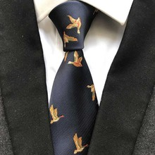 Luxury 100% Silk Necktie Navy Blue with Colorful Birds Personality Ties