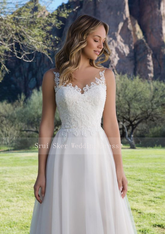 Image 3 - Hot Sale Tulle Wedding Dress A Line Gown with Scoop Lace Neckline Sleeveless Bridal Gowns 2019 V Back-in Wedding Dresses from Weddings & Events