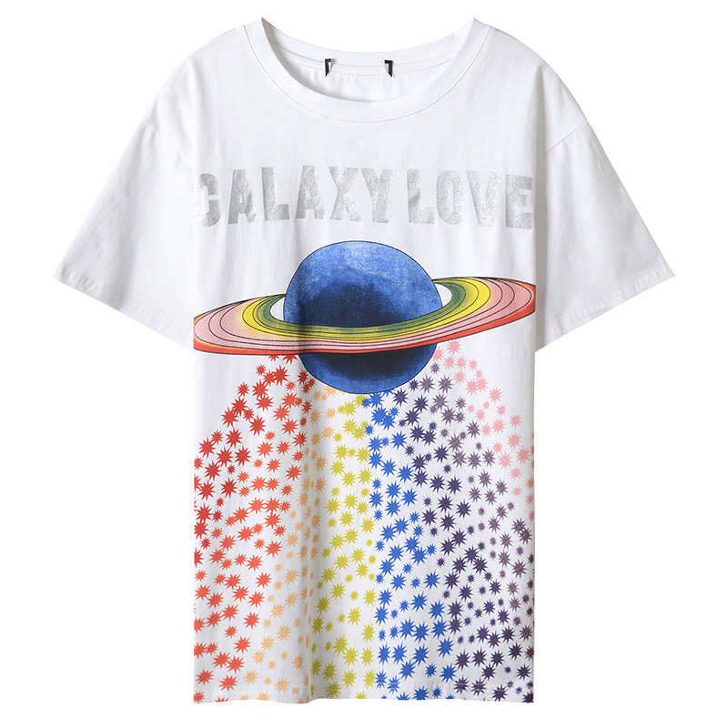 2018 Runway Designer Luxury T-shirts for Women Colorful Universe Letter Print Harajuku Summer Top Tee Female White
