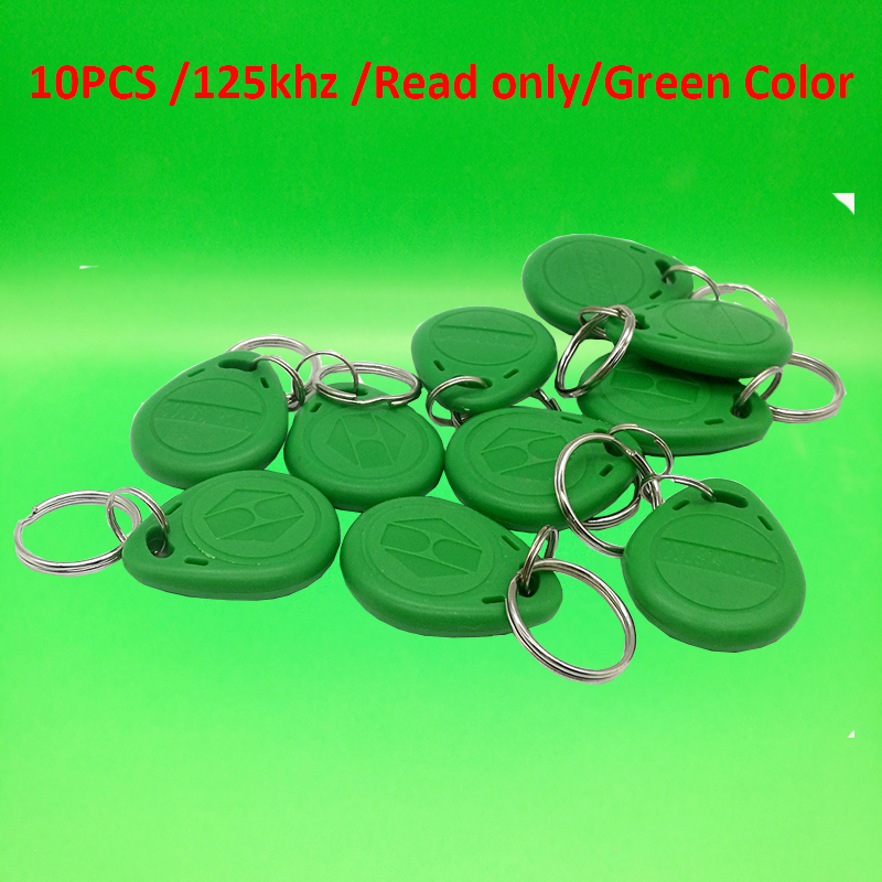 10 pcs TK4100 Read only 125kHz RFID ID Card Key Keyfobs Access Control Tag Green Access Control Key Only non standard die cut plastic combo cards die cut greeting card one big card with 3 mini key tag card