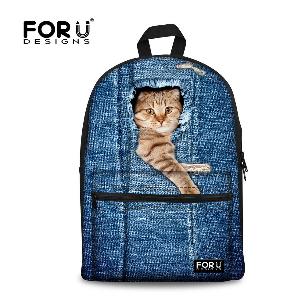 FORUDESIGNS Cute Animal Backpack 3D Dog Cat Print Girls School Backpack Children Backpack For Kids Casual
