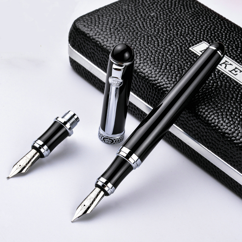 High Quality Metal Golden Clip Medium fountain Pen Ink pen 2 suit Pen Nib Fineliner Pen For Business Stationery Office Supplies dikawen 891 gray gold dragon clip 0 7mm nib office stationery metal roller ball pen pencil box cufflinks for mens luxury