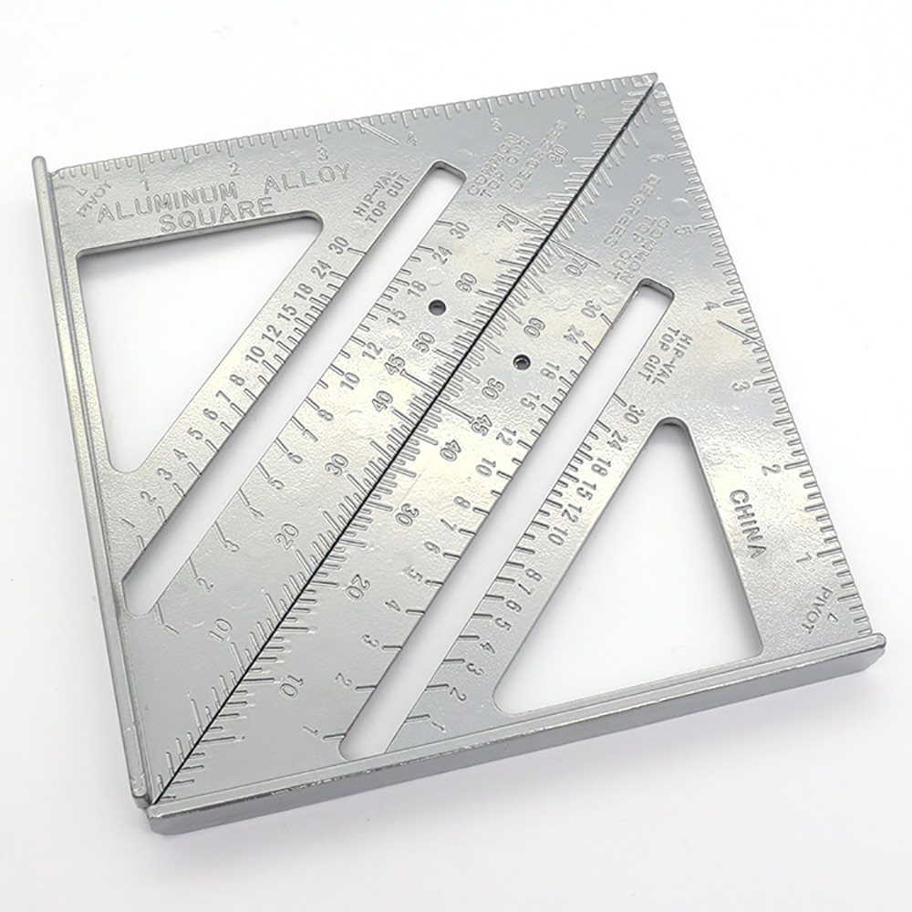 7inch Speed Square Metric Aluminum Alloy Triangle Ruler Squares for Measuring Tool Metric Angle Protractor Woodworking Tools