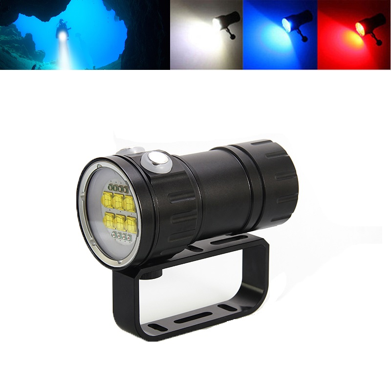 IPX8 étanche plongée photographie lampe de poche 6x XML L2 + 4x XPE rouge + 4x XPE lumière bleue LED sous-marine 80 m plongée caméra torche