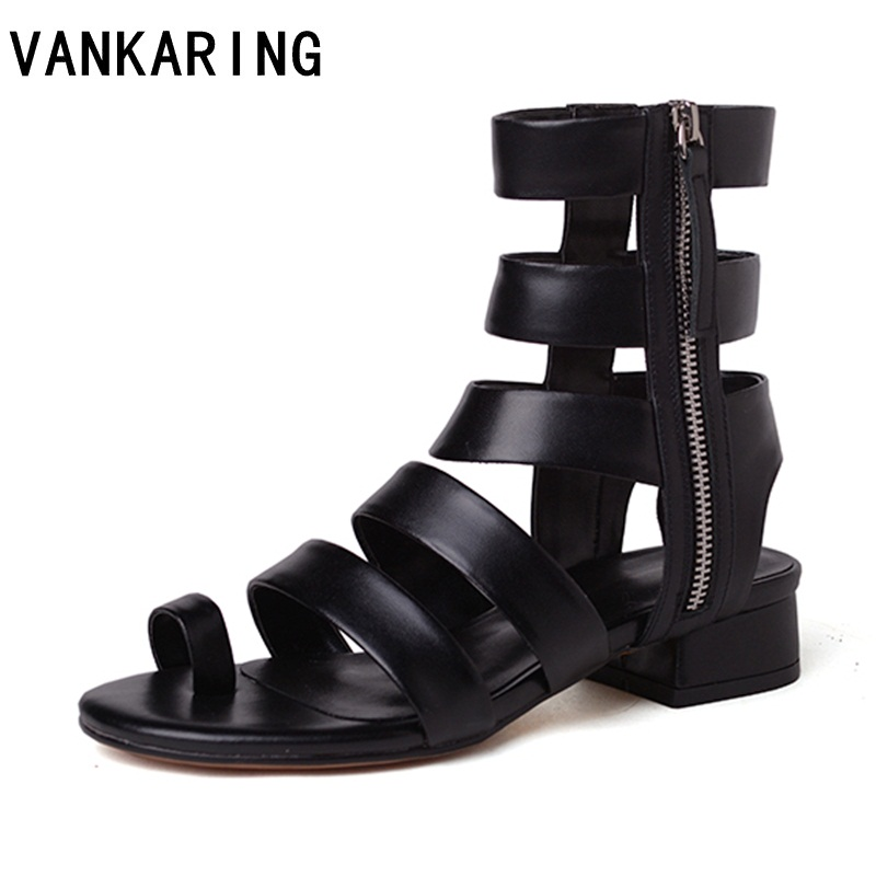 VANKARING women summer boots dress shoes ladies leather ankle boots casual sandals thick heel open toe shoes woman long boots mvvjke summer women shoes woman genuine leather flat sandals casual open toe sandals women sandals