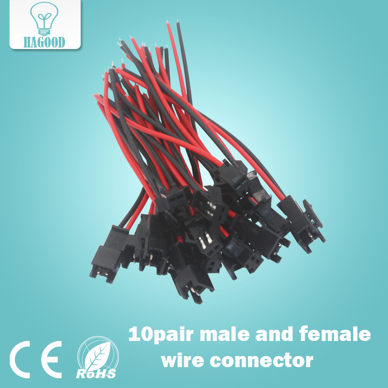 10Pairs 10cm Long JST SM 2Pins Plug Male to Female Wire Connector Quick Connector  Terminal Block 2 Way Easy Fit for led strip 100pcs lot 4 8 male and female insulated terminal insert the plug sheathed wire terminal connector 0 2 1mm2