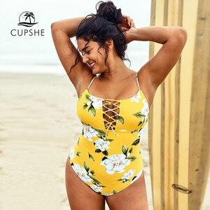 Image 3 - CUPSHE 플러스 사이즈 옐로우 플로랄 프린트 레이스 업 원피스 수영복 여성 섹시한 하이 웨스트 2020 소녀 수영복