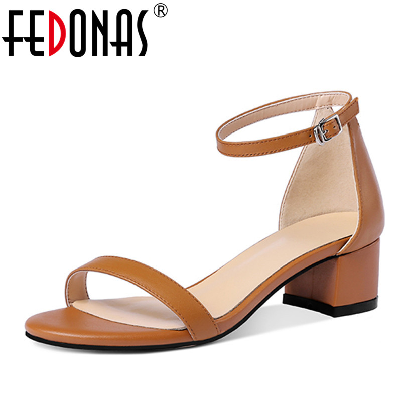 FEDONAS Fashion Ankle Strap Women Genuine Leather Shoes Woman Elegant High Heeled Wedding Party Shoes Female Platforms Sandals fedonas women sandals soft genuine leather summer shoes woman platforms wedges heels comfort casual sandals female shoes