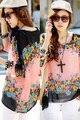 2015 лето женщины футболки sexy моды темперамент чешские случайные летучая мышь рукав дамы шифон топы 25211 один размер
