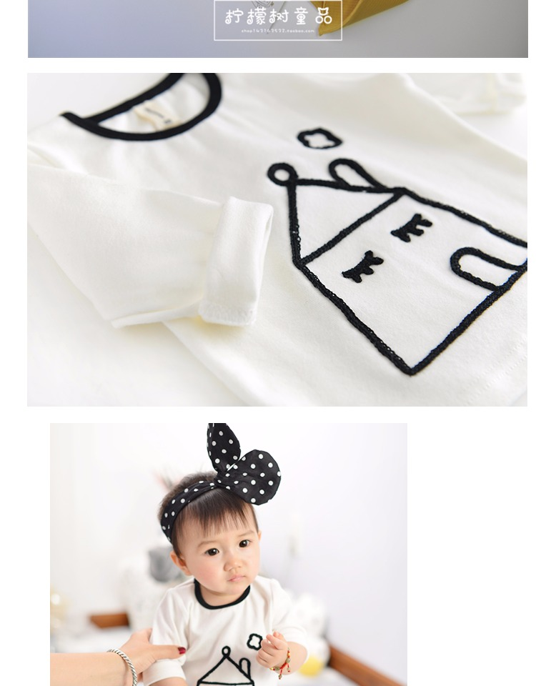 hot sale 2017 unisex baby kids cartoon house printed boys cotton T shirt children infant girl fashion spring white top cloth (1)