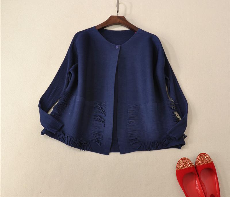 Pocket rouge Tassel Lady Longues Nouvelle La Vêtements Taille Plissée Court Plus Kaki Manches Fold De Manteau Femmes Uaar5qdw