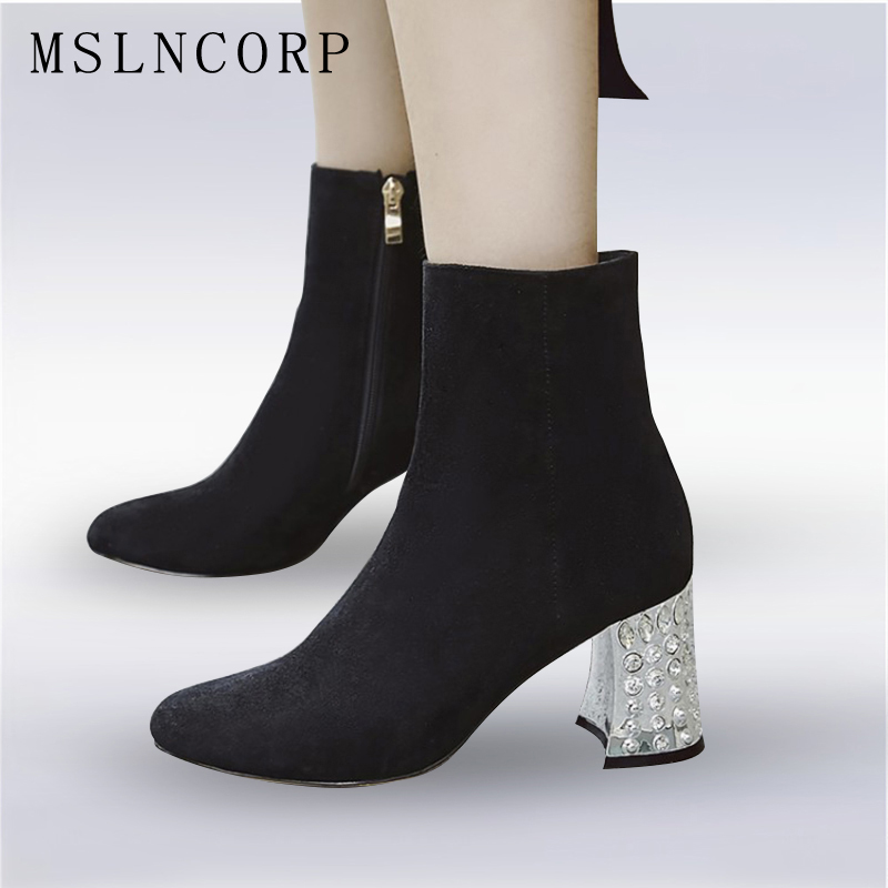Plus Size 34-43 New Spring Autumn Women Shoes Zipper Fashion Crystal Thick High Heels Party Ankle Boots Women Motorcycle Boots spring autumn women thick high heel mid calf boots platform woman short boots high heels shoes botas plus size 34 40 41 42 43